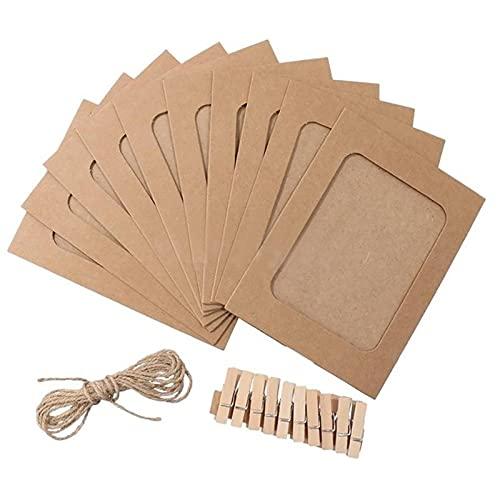 Portafotos con clips para álbum de tarjetas con clavijas, 1 juego de papel kraft práctico