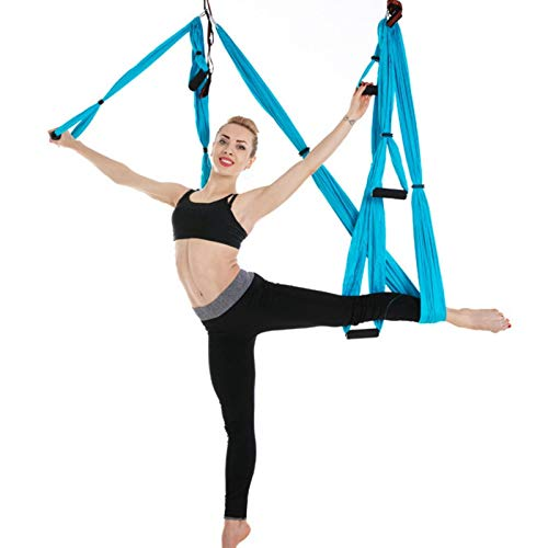 Kuuleyn Juego de Columpio para Yoga aéreo, Kit de Yoga Trapecio a Prueba de Gravedad, para Yoga aéreo, Correas para Colgar, Columpio de inversión voladora, Hamaca para Silla de Columpio (Cielo Azul)