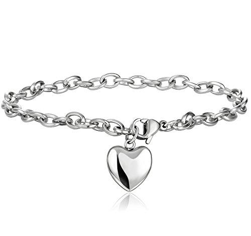 Jstyle Jewelry Women's Heart Charm Bracelets Stainless Steel Link Bracelet Birthday Gifts for Women Jewelry