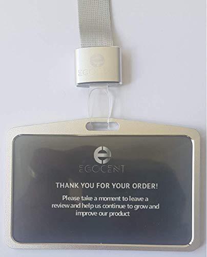 Ausweishülle aus Aluminium von EGOCENT in Silber, horizontal mit hochwertigem Trageband für Werksausweis, Besucherausweis, Messen - Schutzhülle für gängiges Kartenformat zum Umhängen