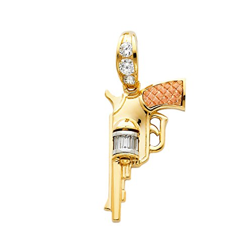 Pendentif pistolet en or jaune blanc rose massif 14 carats poli style audacieux 35 x 19 mm