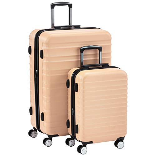 AmazonBasics Premium Hardside Spinner Suitcase Luggage with Wheels - 20-Inch, 28-Inch, Pink