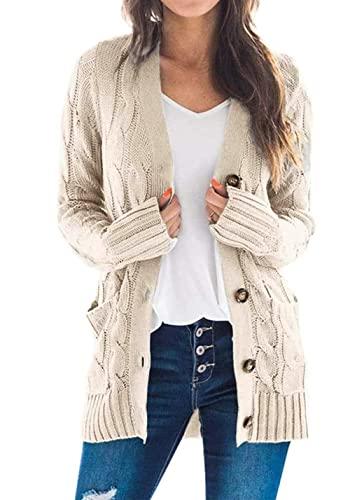 PRETTYGARDEN Women's Long Sleeve Open Front Knitted Cardigan Sweater Button Down Chunky Outwear Coat Beige