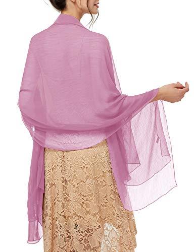 bridesmay Damen Strand Scarves Sonnenschutz Schal Sommer Tuch Stola für Kleider in 29 Farben Light Fuchsia