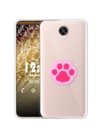Sunrive Kompatibel mit Meizu M3 Max Hülle Silikon, Ständer Fingerhalter Fingerhalterung Handyhülle Transparent Schutzhülle Etui Hülle (Rosa Katze Hand) MEHRWEG