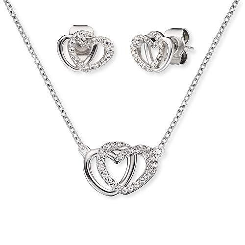 Engelsrufer Set ERMT-LILHEART2-ZI Halskette und Ohrstecker Sterling Silber synthetischer Zirkonia