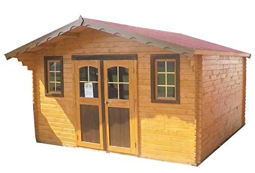 Abri en madriers massifs 28 mm - 10,66 m² - 2 fenêtres
