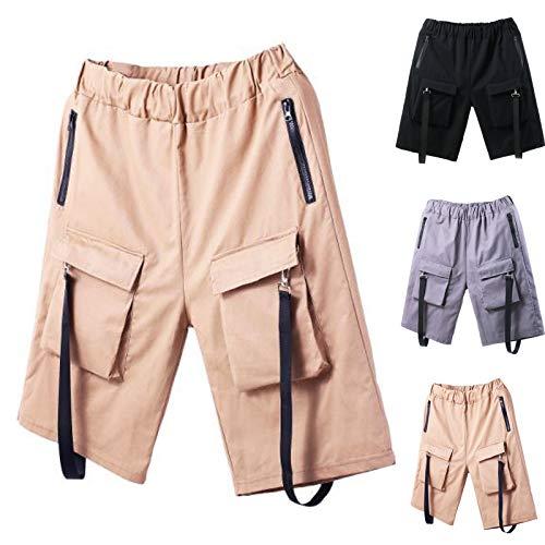 PAOMIAN Cargohose Herren Cuba Chino Shorts mit 5 Taschen Kurze Arbeitshosen Herren 100% Baumwolle Kurze Hose Regular Fit Bermudas Cargo Shorts Sommerhose Latzhose Short Men Pants Chinohose für Männer