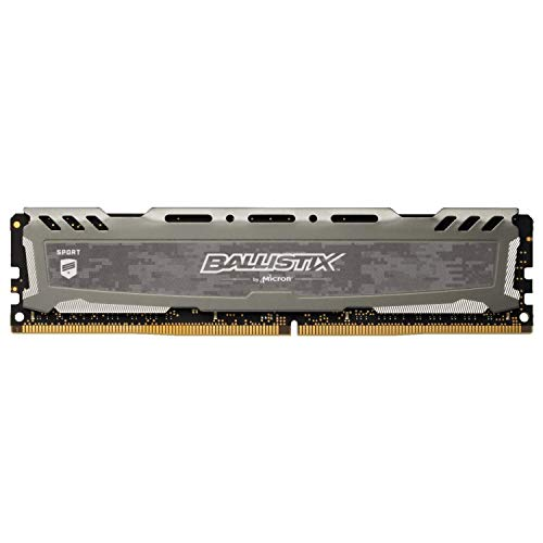 Crucial Ballistix Sport LT 3200 MHz DDR4 DRAM Desktop Gaming Memory Single 8GB CL16 BLS8G4D32AESBK (Gray)