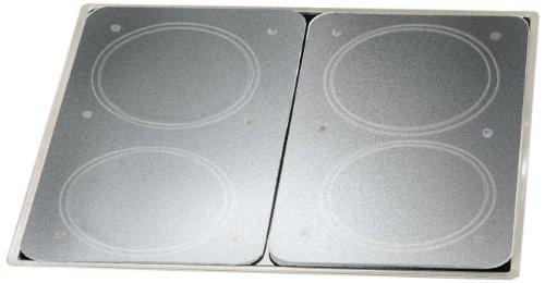WENKO Herdabdeckplatte Universal mit Sicherheitsfolie 2er Set - 2er Set, Kochplattenabdeckung und Glas-Schneidebrett für alle Herdarten, Gehärtetes Glas, 30 x 1.8-4.5 x 52 cm, Transparent