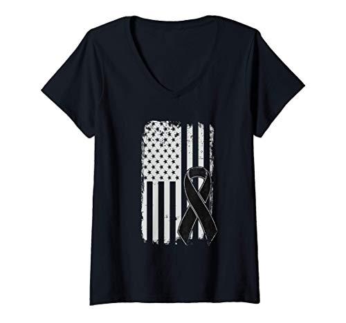 Mujer Concienciación sobre el cáncer de piel melanoma - Bandera Camiseta Cuello...
