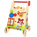 Baby Walkers Andador de Madera para bebés, Niño pequeño 0-2 Regalo de cumpleaños Caminante para bebés Aprendizaje Caminando Carrito 33 × 34 × 52 cm