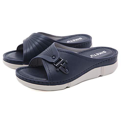 HXXBY 2021 Cabeza Redonda Bordado Eléctrico Fashion Sandals Sandalias Cuña Cómoda Sandalias...