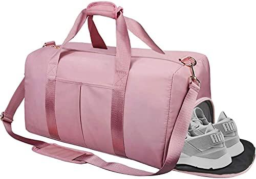 Freenfitmall, borsa da palestra separata da asciutto e bagnato, borsa da palestra, borsa da allenamento, borsa da yoga, viaggio durante la notte, weekend con scomparto per scarpe, rosa, 2pcs,
