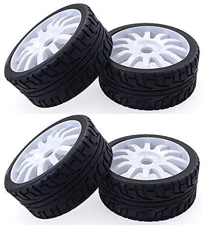 YNSHOU Accesorios de Juguete 4PCS 1/8 RC Car Goma Neumáticos Ruedas de plástico para Redcat Team Losi VRX HPI Kyosho HSP Carson Hobao 1/8 Buggy / On-Road Car, Blanco