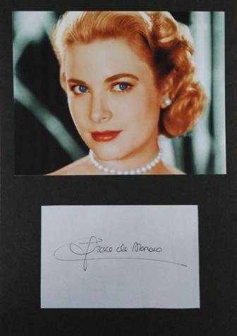Framed Grace Kelly Autograph with Certificate of Authenticity