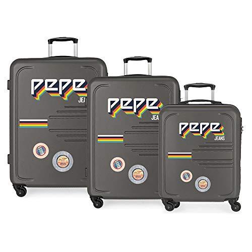 Pepe Jeans Edison Set de Bagages Gris 55/69/79 cms Rigide ABS Serrure à combinaison 242L 4 roues Bagage à main
