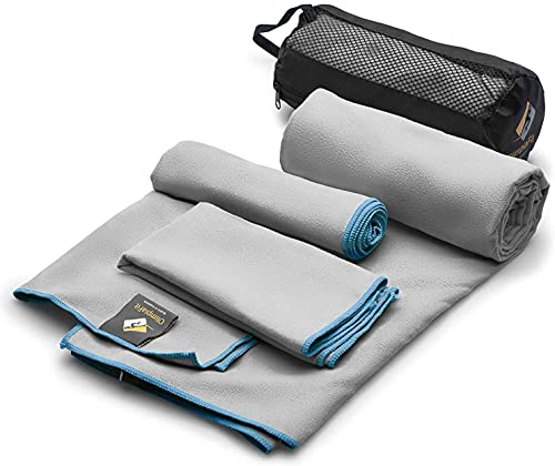 OlimpiaFit Microfiber Towels - Quick Dry 3 Size Pack (51inx31in, 30inx15in, 15inx15in) Camping, Sports, Beach, Backpacking, Gym, Travel Towels with Bag - Soft, Compact, Lightweight, Grey