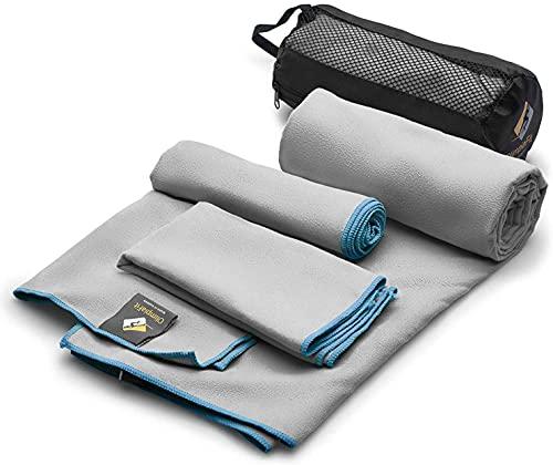 OlimpiaFit Set von 3 Mikrofasertücher Schnell trocknende Grau Reisen Backpacking Yoga Schwimmen Sport Fitness Fitnessstudio Körper-Gesicht Sweat Handtuch
