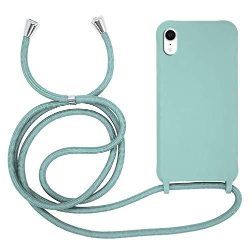 MyGadget Funda con Cordón para Apple iPhone XR - Carcasa en Silicona con Cuerda - TPU Case Rigida & Opaca y Correa para Llevar en el Cuello - Verde Menta