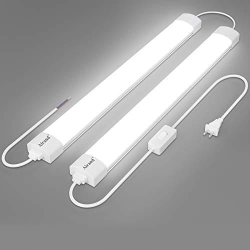 Utility LED Shop Light Fixture 2FT 4FT with Plug Linkable, Airand 2PCS Waterproof LED Tube Light 5000K Under Cabinet Lighting,LED Closet Light 18W for Garage Kitchen Bathroom Workbench