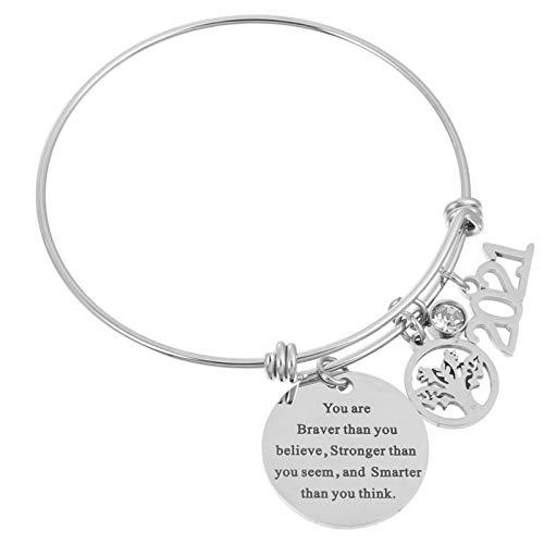 Amosfun Graduation Bracelet 2021 You are Braver Than You Believe Inspirational Charm Bracelet Silver Inspirational Waist Band Motivational Cuff Bangle Jewelry for High School College Graduation