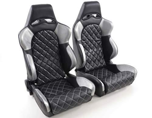 Juego de asientos ergonómicos Las Vegas piel artificial negro/plata costura