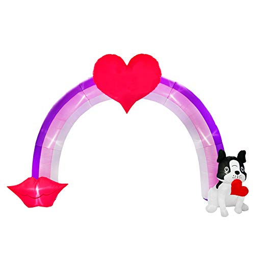 BNX 9 Ft Inflatable Valentine Hearts Arch Decoration with Bulldog for Wedding Anniversary Party Light up with Sweet Heart