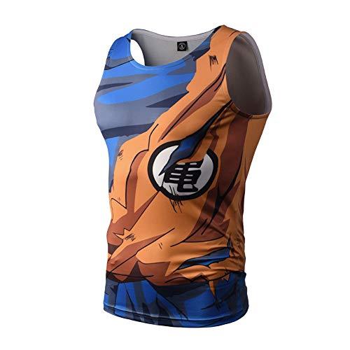 NIEWEI-YI Dragon Ball Canotta Uomo Palestra Tshirt Senza Maniche Divertenti Colorata 3D Stampa Canottiere per Uomo,L