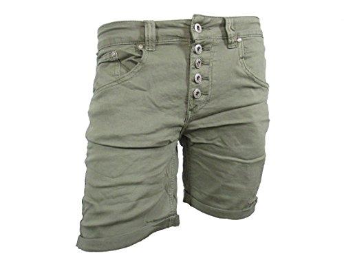 PLACEduJOUR Sweat Denim Krempel Bermuda Capri Jeans Hose Shorts offene Knopfleiste (S-36, Khaki-Short)