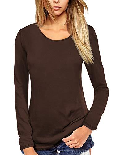 Florboom Longshirt Damen Langarm Bluse Braunes Oberteil Basic T Shirt O Neck Tshirt Summer Tops Braun M