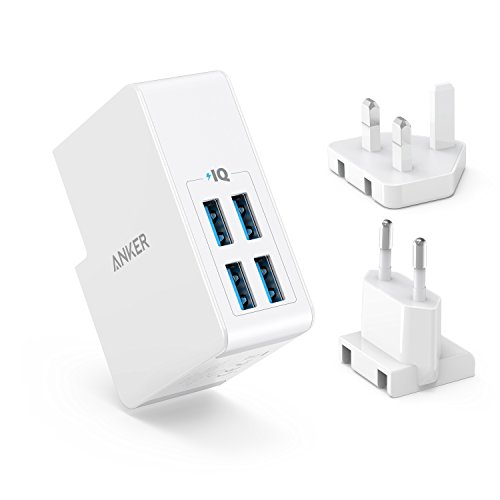 Anker USB Plug Charger 5.4A/27W 4-Port USB Wall Charger, PowerPort 4 Lite with Interchangeable UK and EU Travel Charger, Adapter for iPhone XS/XS Max/XR/X/8,Galaxy S8/Note 3,iPad Air 2/mini 3,and More