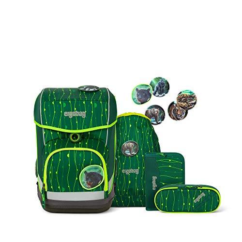 Ergobag cubo Light RambazamBär, ergonomischer Schulrucksack, extra leicht, Set 5-teilig, 19 Liter, 780 g, Grün