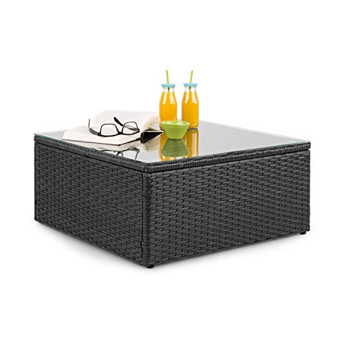 blumfeldt Theia Table Lounge Table d'appoint Table de Jardin - Polyrattan, Plateau en Verre, Noir