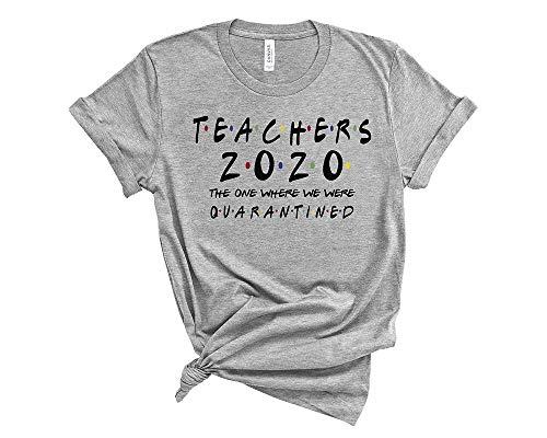 Teachers Shirts Teacher The one Where They were quarantined 2020 D4 XL Heather Grey