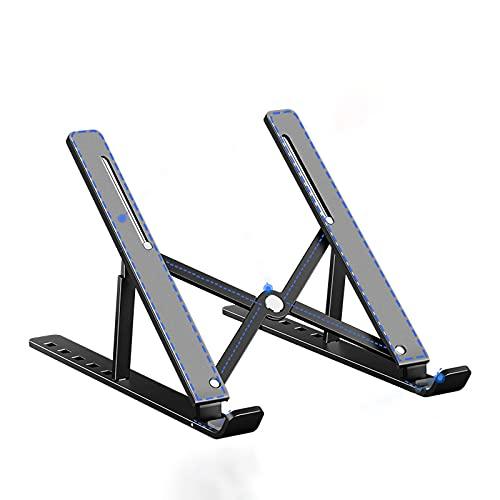 Soporte para computadora portátil,Soporte portátil plegable para aumentar el escritorio,Soporte de escritorio de aleación de aluminio ajustable,para computadoras portátiles de varios tamaños,Negro