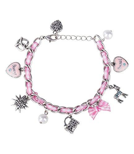 SIX Oktoberfest - Damen Armband, Silberne Glieder, Textilband, rosa-weiß, Perlen, Charms, Edelweiß, Brezel, Karneval, Fasching, Verkleidung (731-445)