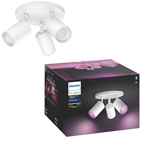 Philips Hue Bluetooth Fugato 3 Focos Inteligentes LED, GU10, 5.7 W, Luz Blanca y de Colores, Compatible con Alexa y Google Home