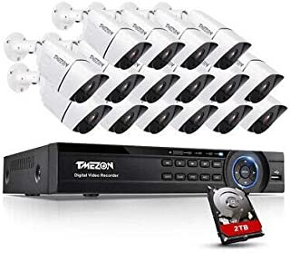 TMEZON Ultra 4K HD Security Camera System, 16 Channel H.265+ 4K (3840x2160) Video Dvr and 16x 4K (8MP) Ip67 Bullet Weather...