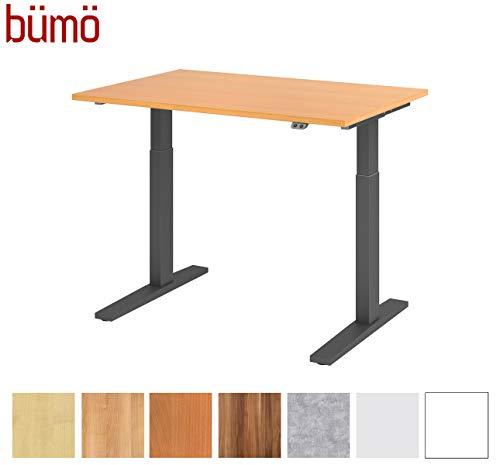 bümö® elektrischer Sitz & Steh Schreibtisch höhenverstellbar 120 x 80 cm in Buche - Gestell in Graphit