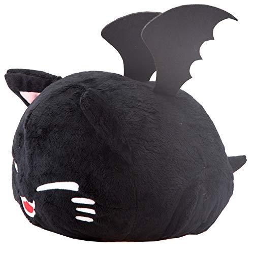 Nemu Nemo Neko schwarze Vampir Katze Kuscheltier mit Vampirzähnen Deko für Helloween - Manga Anime Otaku Kawaii Stofftier - Plüschtier Plush zum Kuscheln Original aus Japan Höhe 25cm und Breite 34cm
