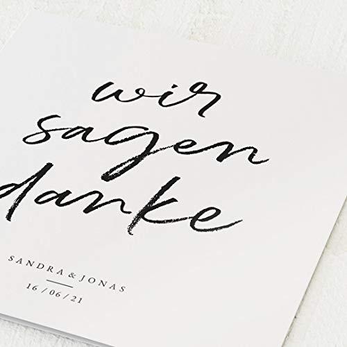 sendmoments Danksagungskarten Hochzeit, Kreideschrift, 5er Klappkarten-Set, personalisiert mit Text, wahlweise mit persönlichen Bildern & Roségoldfolien-Veredelung, optional Design-Umschläge