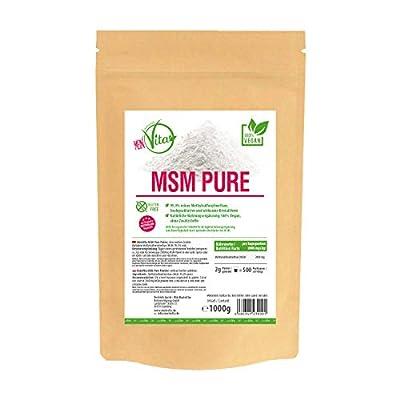 MeinVita MSM - Pulver Pur, 100% Vegan, ohne Magnesiumstearat, hoch bioverfübares feines MSM, hergestellt in Deutschland