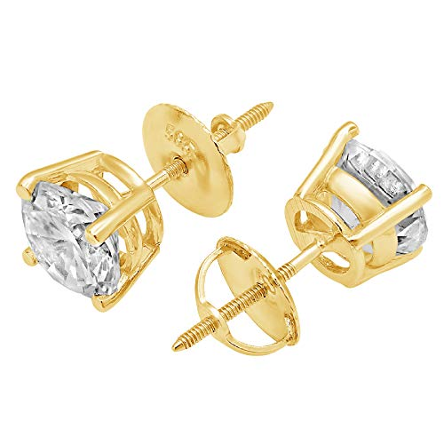 3.0 ct Round Brilliant Cut Simulated Diamond Solitaire Stud Earrings in 14k Yellow Gold Screw Back