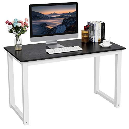 Yaheetech Schreibtisch Metall&Holz, Computertisch, PC-Tisch, Officetisch Stabile Konstruktion, Tisch für Home Office (120cm Schwarz)