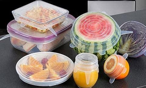 Set de 6 piezas Tapas de silicona ajustables Cocina Reutilizables ecológicas Varios tamaños (6,3cm hasta 19,5cm) Tapas Silicona para Alimentos