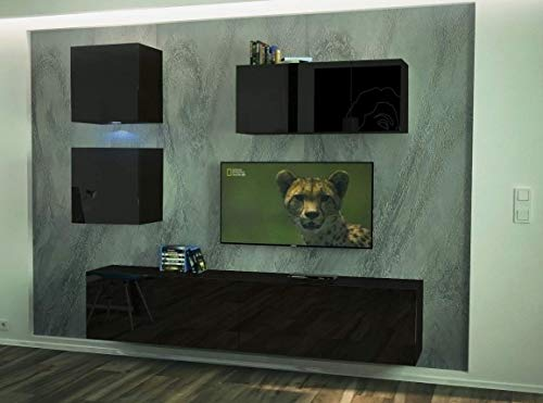 Home Direct Como N69 Schwarz Modernes Wohnzimmer Wohnwand Wohnschrank Schrankwand Möbel Mediawand (AN269-17B-HG20 1A klein, Led Blau)
