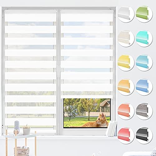 HOMEDEMO Doppelrollo Klemmfix ohne Bohren & mit Bohren, Rollos für Fenster und Tür, (Weiss, 45x150cm) Duo Rollo Klemmrollo lichtdurchlässig, Fensterrollo Sichtschutz