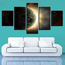 WMWSH Moderno Mpresión Lienzo Pintura 5 Piezas Planeta Tierra HD Cuadros En Lienzo Pinturas De Cuadros Mural para La Decoración del Dormitorio De La Sala De Estar