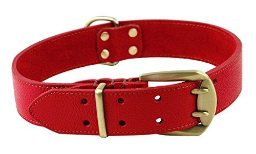 Rantow Ajustable Collar de Cuero Fuerte para Perros Grandes, Longitud Ajustable 23.5 Pulgadas a 27.5 Pulgadas, 1,57 Pulgadas de Ancho (Rojo)